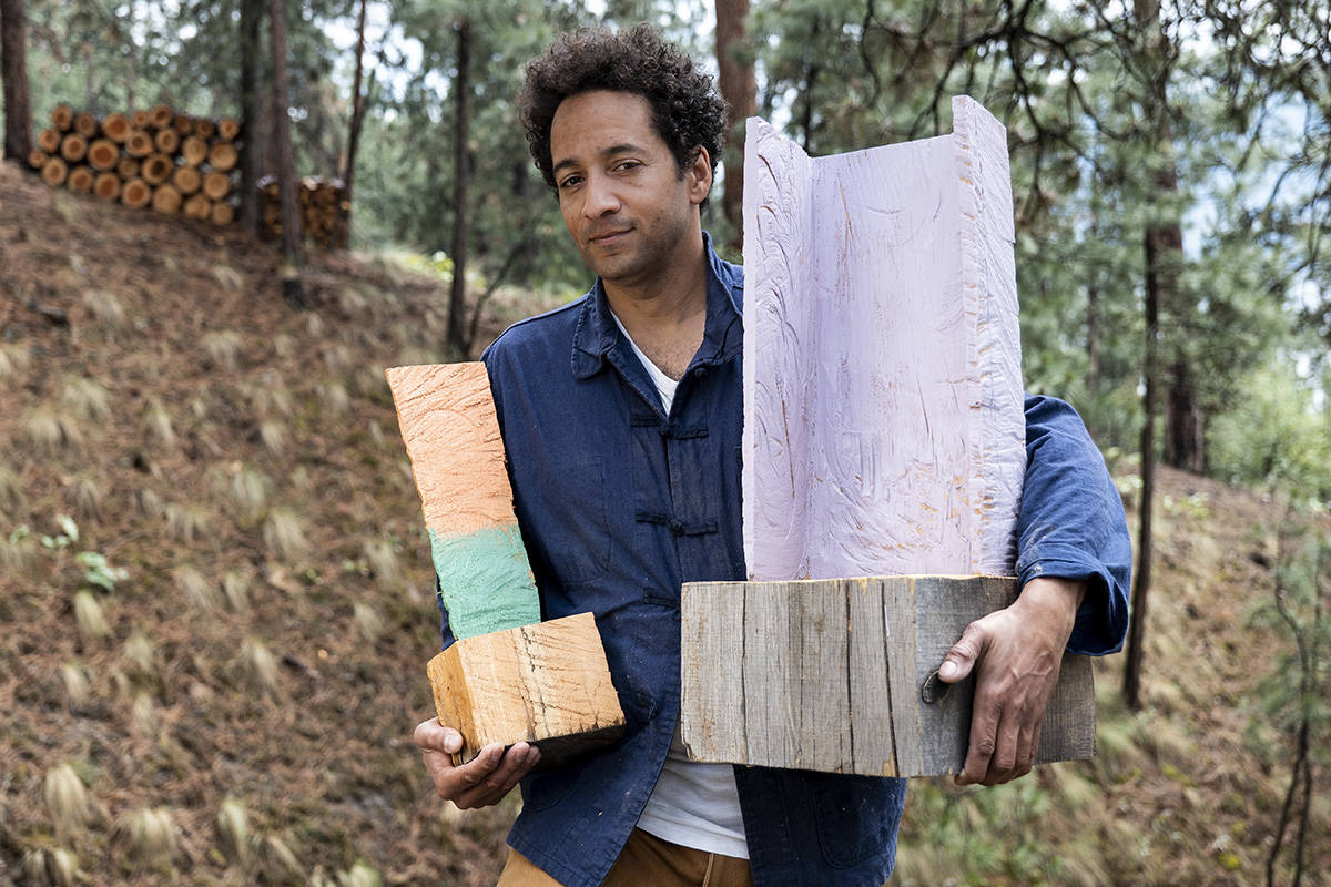 Artist and UBC art instructor Samuel Roy-Bois with some of his artwork in Kelowna, British Columbia. Photography by Lia Crowe