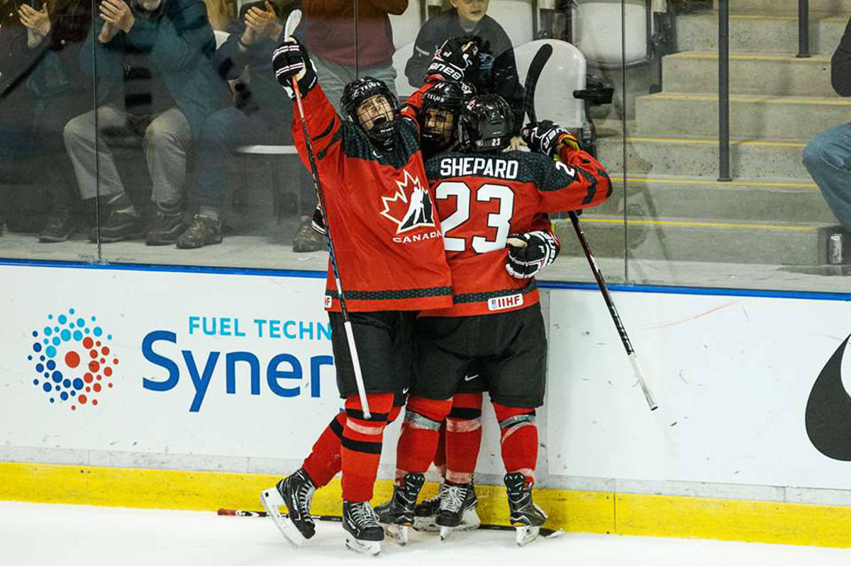 Canadian players in action during the 2018 World Under-17 Hockey Challenge, in a photo posted to hockeycanada.ca.