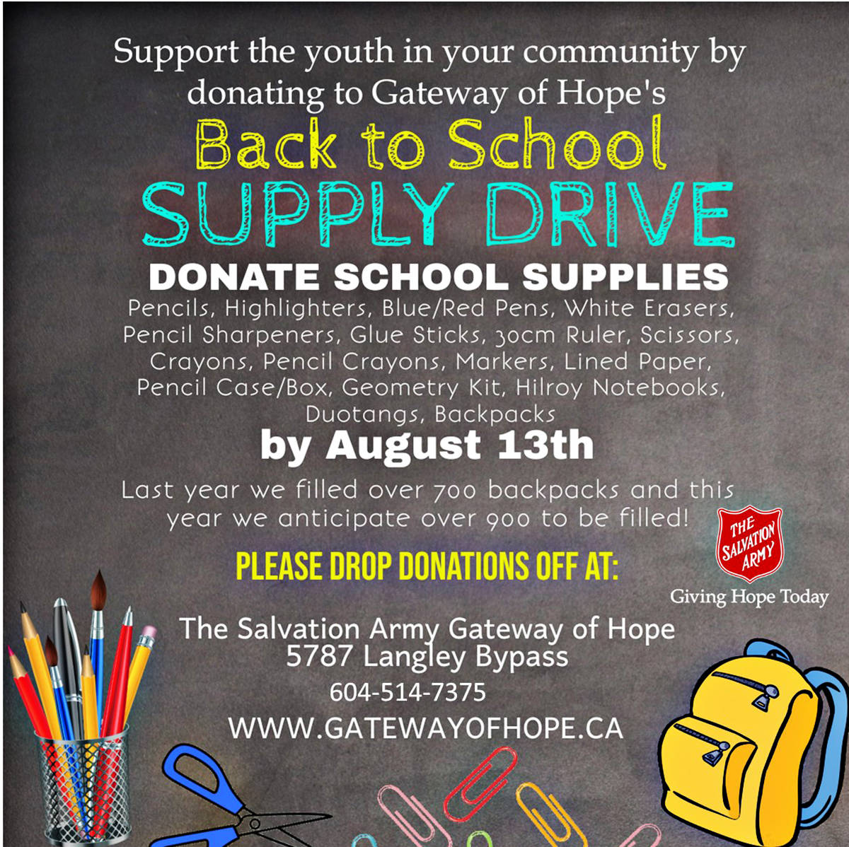 Families have until Aug. 20, 2021, to register if they need school supplies for their children. (Gateway of Hope poster)