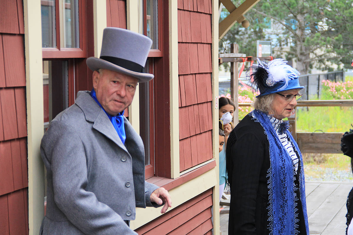 Stephen Plant (left) and another Heritage Rail Player stand on the train platform in Cloverdale in 2020. The Heritage Rail Players are looking for more volunteers to join their living history troupe. A volunteer fair has been scheduled for Aug. 7 at the FVHRS in Cloverdale. (Photo: Malin Jordan)