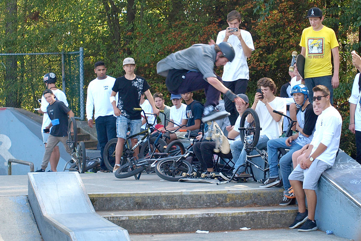 Atendees of the 2016 Dario Jam watch as a skateboarder jumps some stairs at the South Surrey skate park. This year's event is set for Aug. 28. (File photo)