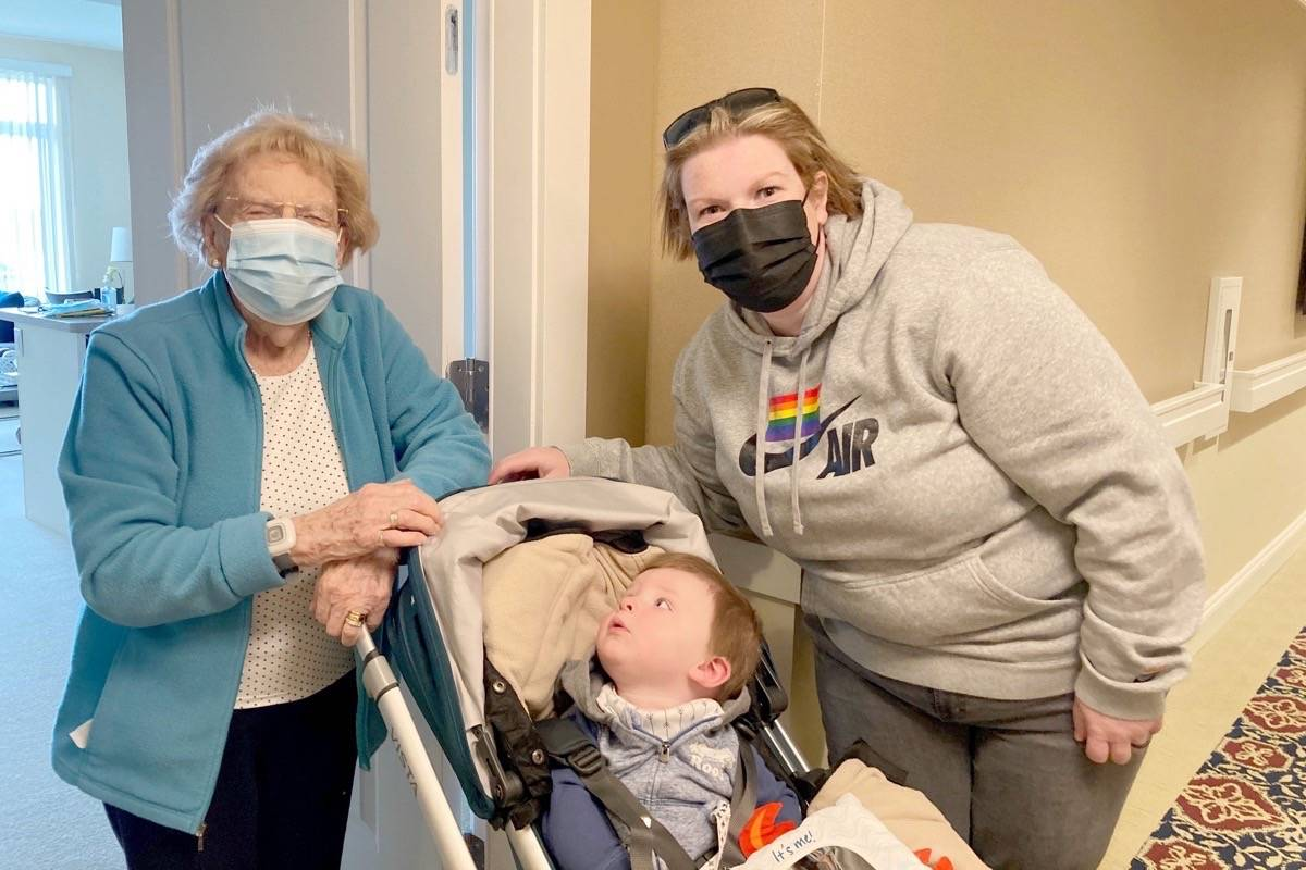 Doris Gage (left) poses with her grandson Nash and her granddaughter Meghan Mitchell on April 1, 2021, when restrictions were lifted to allow in-suite visits. (Contributed photo)