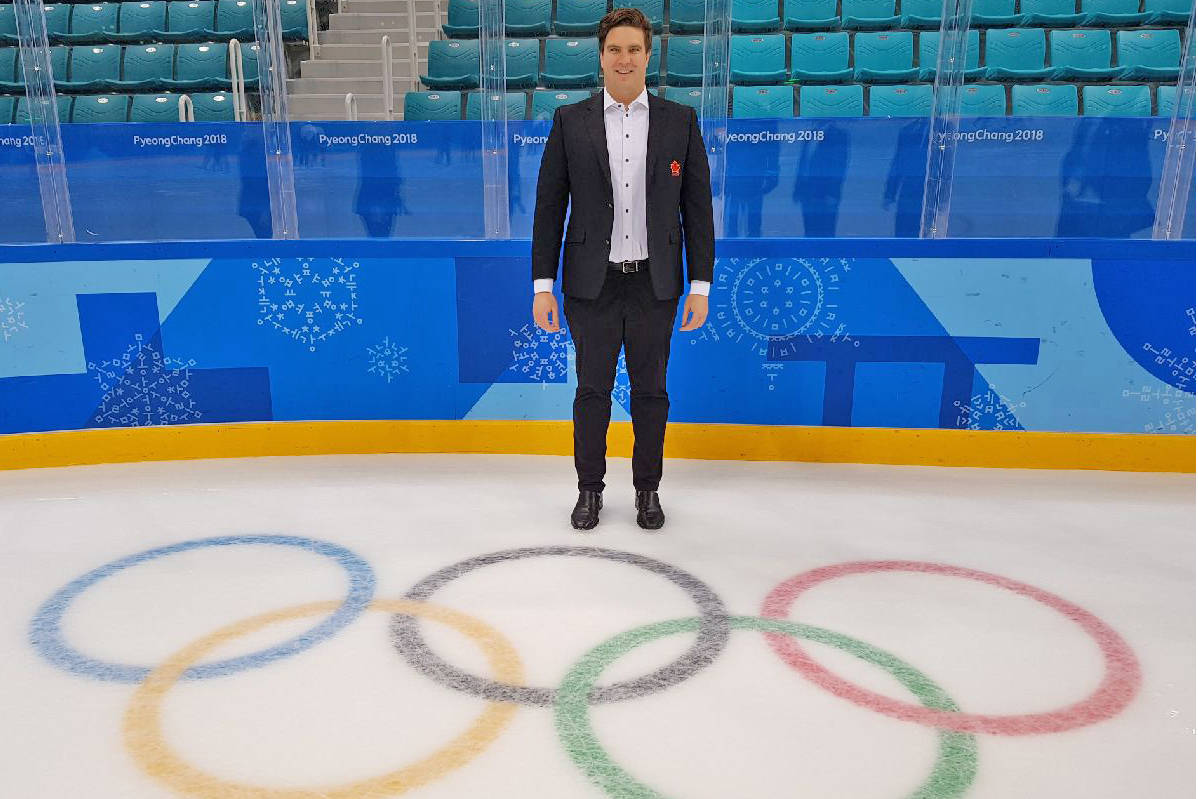 Bayne Pettinger on the ice at the PyeongChang 2018 Olympics in Korea during his time as Hockey Canada manager. (Courtesy of Bayne Pettinger)