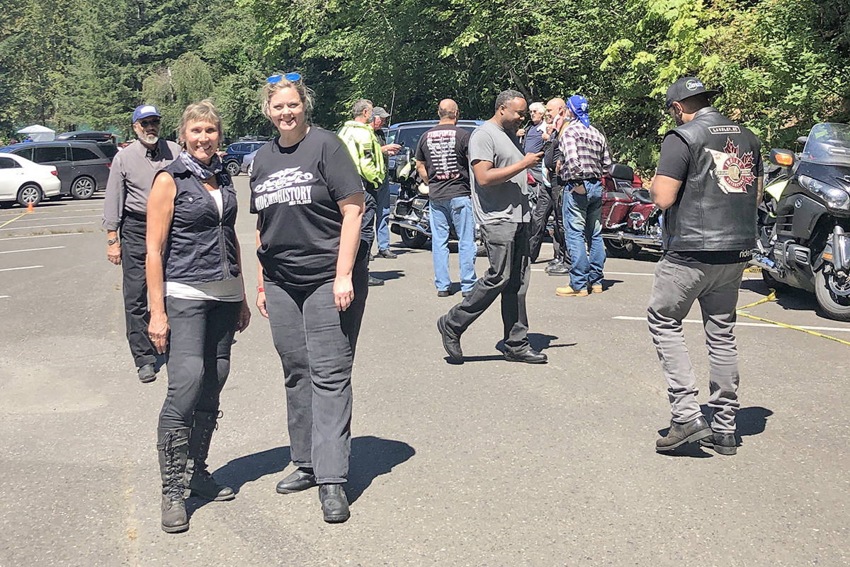 Langley's Gitta Pennock (L front), seen here at a previous Ride into History, was remembered with white ribbons at ninth annual Ride Into History fundraiser held on Saturday, July 24. (Special to Langley Advance Times)