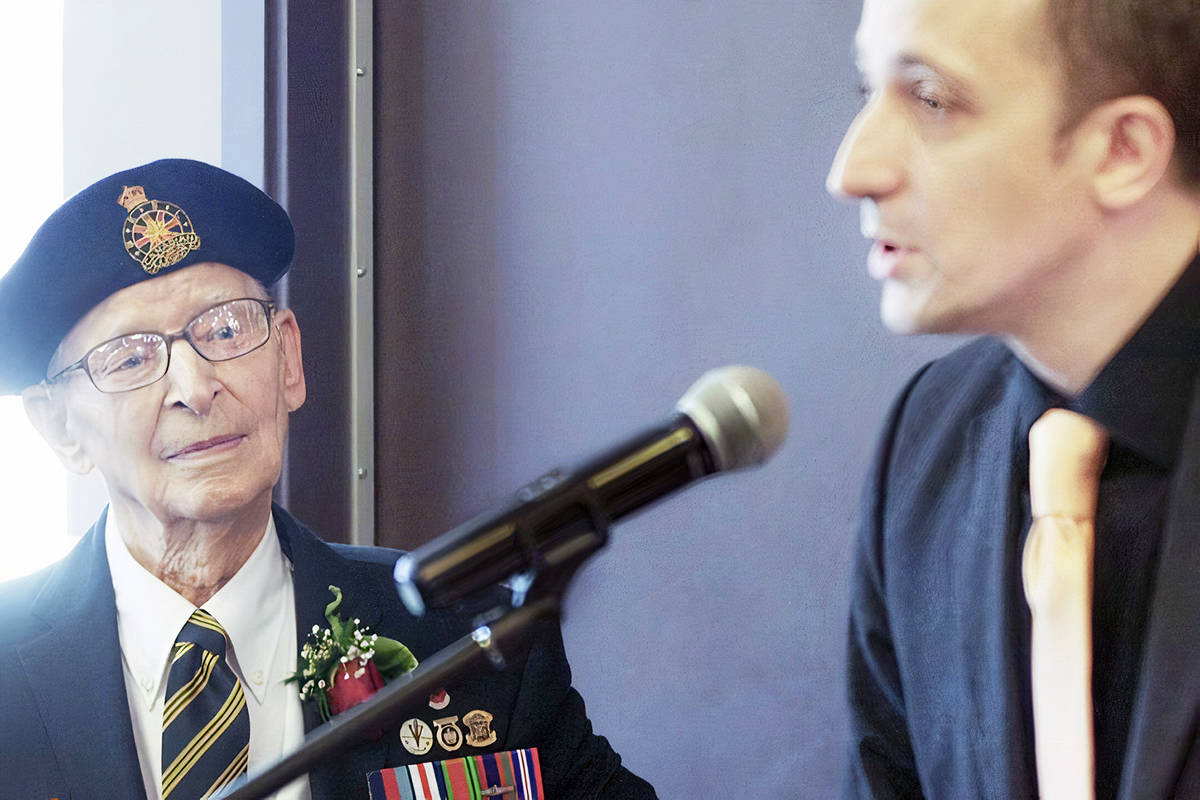 Langley resident John Swityk of the Regina Rifles listens, as French consul-general Jean-Christophe Fleury thanks him for freeing his country. In 2015, Swityk was presented with the French Legion of Honour award, that country's highest award, as part of a decision by the French government to honour all living Canadian soldiers who fought during D-Day to help liberate France and defeat Nazi Germany. (Langley Advance Times file)