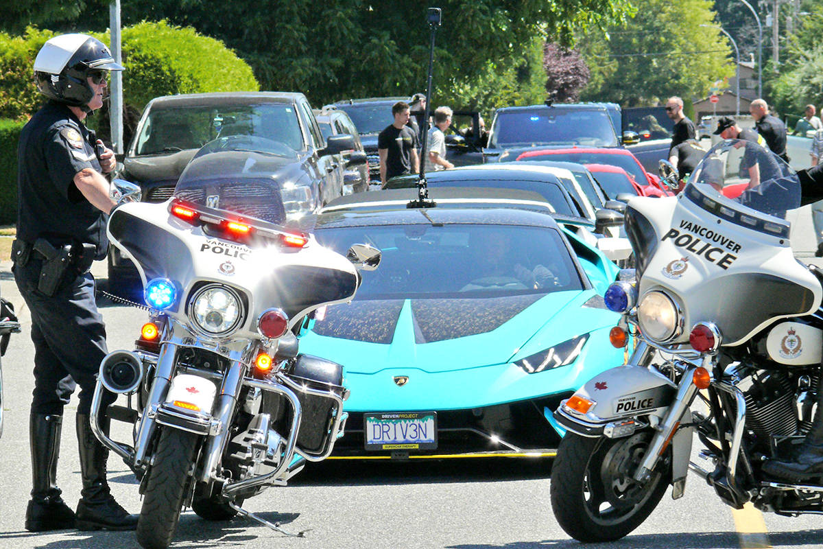 A fleet of supercars filled a quiet Langley City street to visit Langley City teen Alyssa Anderson on Sunday, July 25, as part of the Drive Project. (Dan Ferguson/Langley Advance Times)