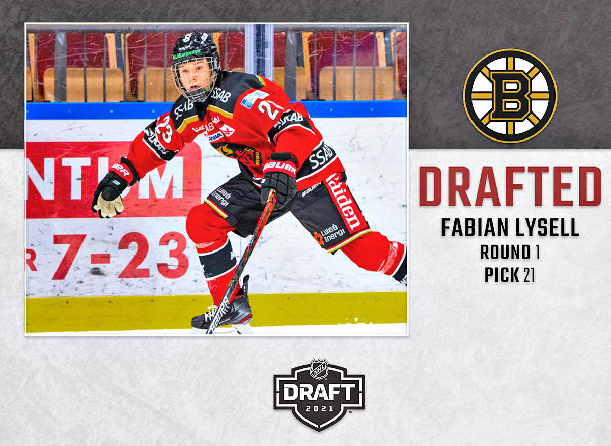Giants forward Fabian Lysell was selected 21st overall by the Boston Bruins in the first-round of the 2021 NHL Draft. (file)