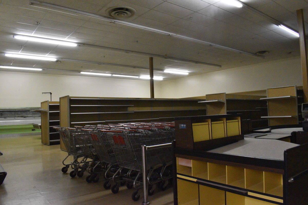 An empty supermarket inside the mall building. (Binny Paul/Terrace Standard)