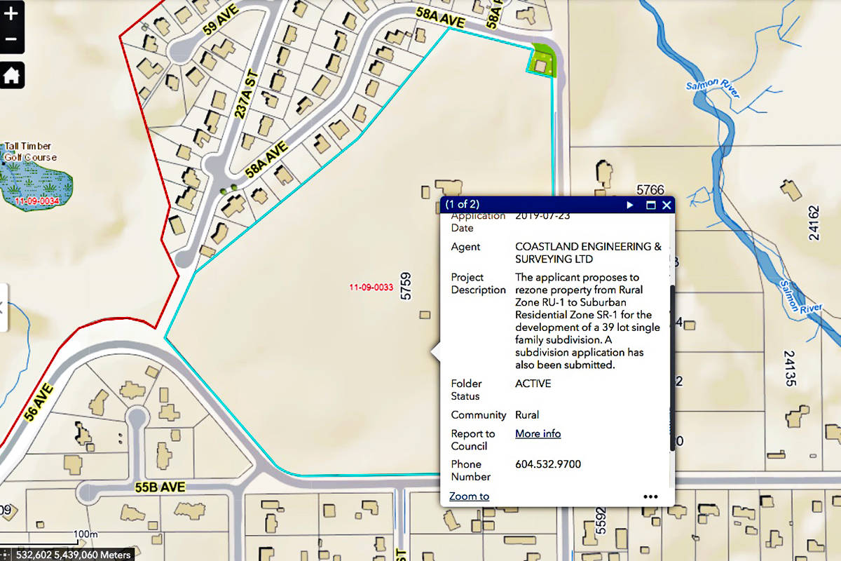 A local resident is concerned about a proposal to turn a rural area into a subdivision. (Langley Township website)