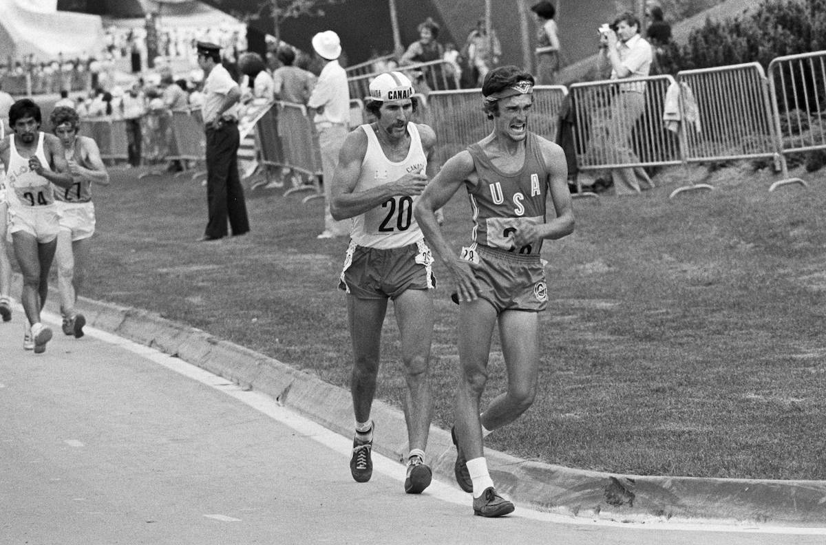 Marcel Jobin (20) of Canada takes part in the Men's 20 km Walk, at the Montreal Summer Olympics, July 23, 1976. THE CANADIAN PRESS/Doug Ball