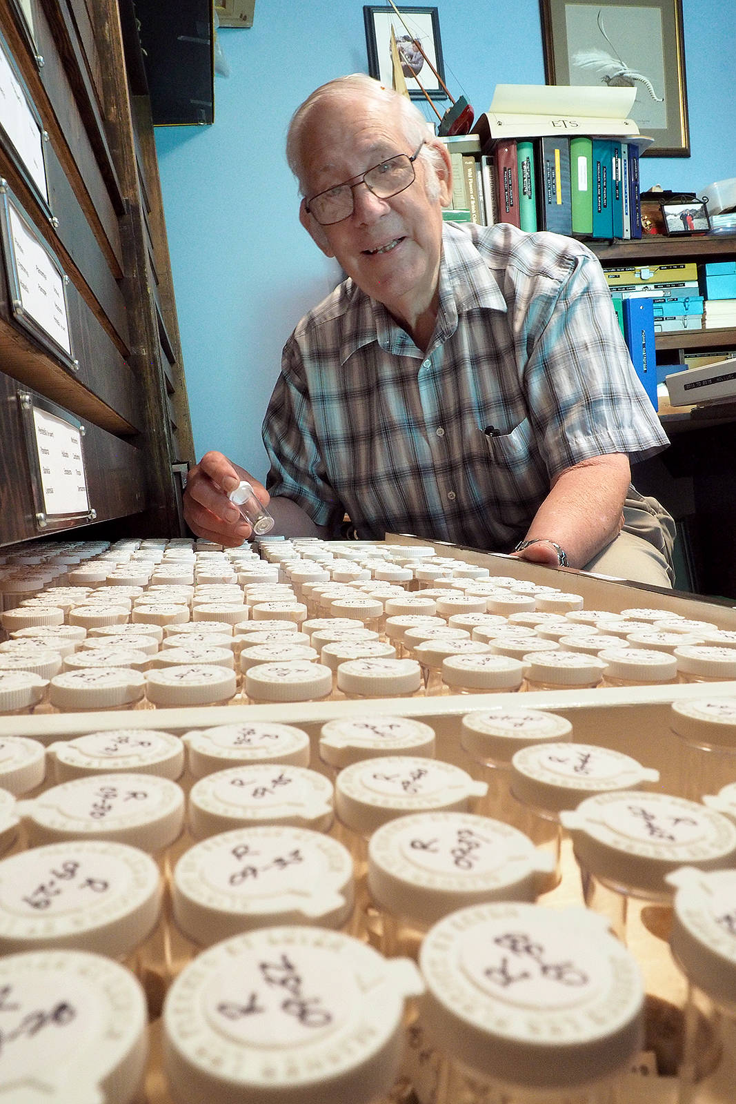 Bill Merilees,  a retired B.C. Parks regional information officer, gathered mollusk shells from B.C. and Washington State coastlines for 50 years and in that time amassed one of North America's largest collections of micro mollusks - primarily tiny snails - that are part of a larger collection that has been donated to the University of British Columbia's Beaty Biodiversity Museum. (Chris Bush/News Bulletin)