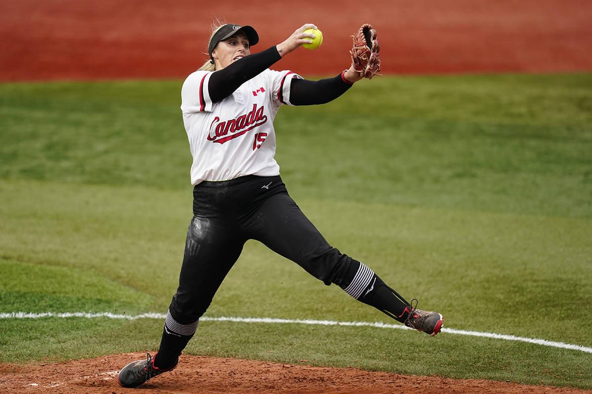 Canada's Danielle Lawrie pitches during a softball game against Italy at Yokohama Baseball Stadium during the 2020 Summer Olympics. (AP Photo/Matt Slocum)