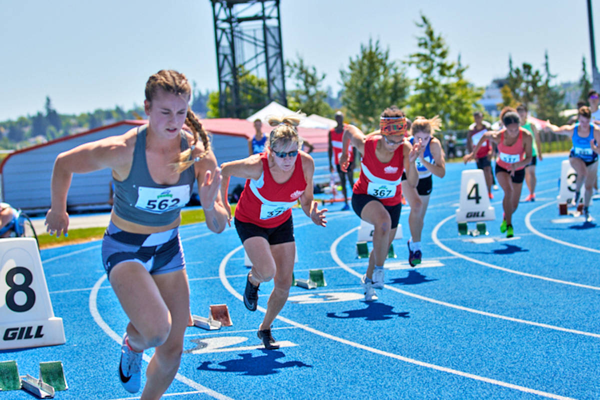 Langley Mustangs and BC Athletics hosted more than 300 U16-senior competitors Saturday, July 24, and Sunday, July 25 for the provincial sprints, jumps, hurdles and wheelchair racing challenge. (Rob Wilton/Special to Langley Advance Times)