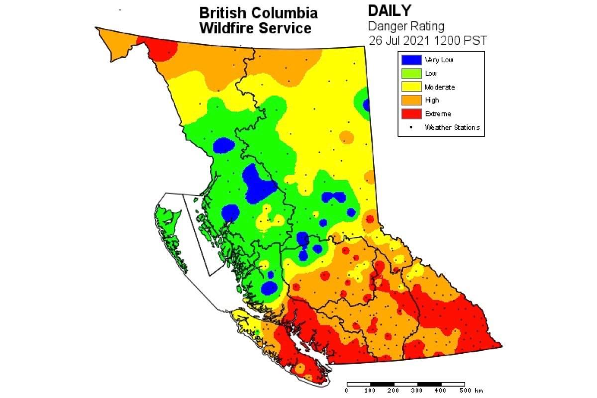 B.C. currently has 250 active wildfires, as weather forecast continues hot and dry across the southern half of the province. (B.C. Wildfire Service)
