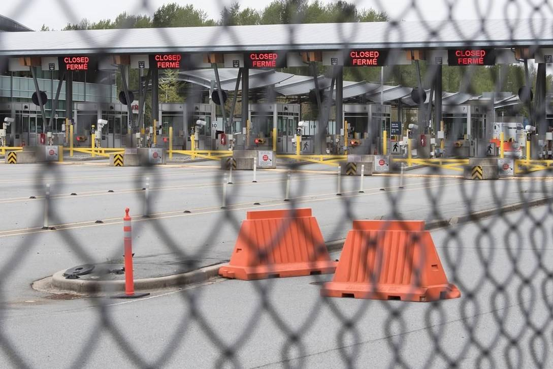 Part of Canada's land border with the United States is pictured closed at the Peace Arch border crossing in Surrey, B.C., Tuesday, April 28, 2020. THE CANADIAN PRESS/Jonathan Hayward