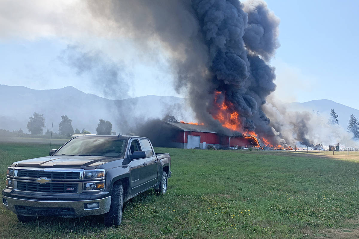 This chicken barn in Rosedale in Chilliwack burned to the ground in under an hour on July 27, 2021. (Paul Henderson/ Chilliwack Progress)