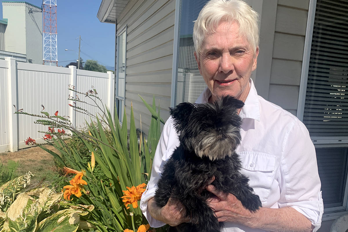 Bonnie Ball of Chilliwack, pictured her with her dog Trudy on July 26, 2021, was the victim of a telephone fraud costing her $44,000. (Paul Henderson/ Chilliwack Progress)