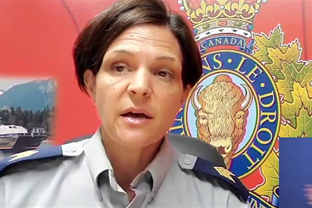 Staff Sgt. Janelle Shoihet, spokesperson for the B.C. RCMP, speaks to Emergency Management B.C. briefing, July 27, 2021. (B.C. government video)