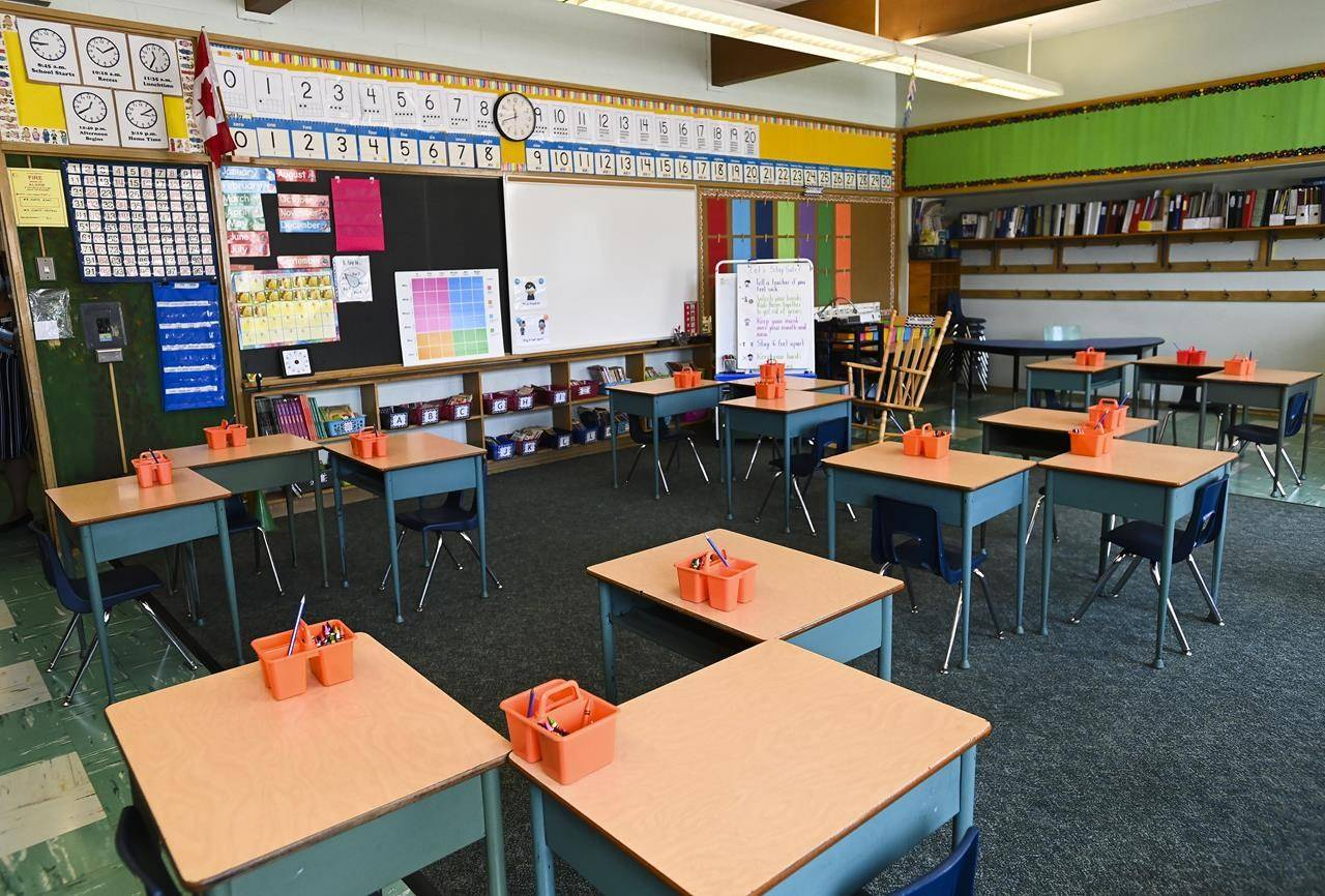 A classroom is shown at Hunter's Glen Junior Public School in Scarborough, Ont., on Monday, September 14, 2020. An advocacy group is calling for Canada to fully integrate child-care and early childhood education into its school systems THE CANADIAN PRESS/Nathan Denette