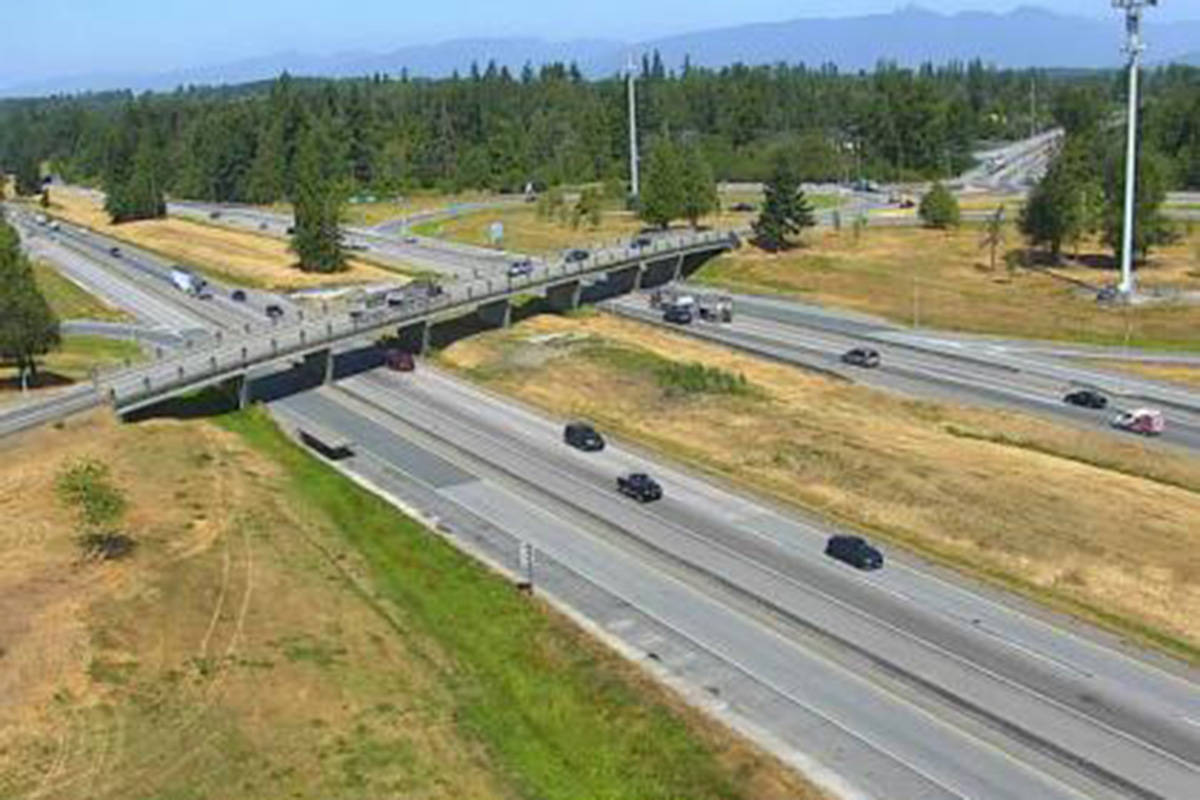 A view of the Trans Canada Highway from the 232nd Street Overpass looking west around 11:40 a.m. July 28, 2021. (Drive BC)
