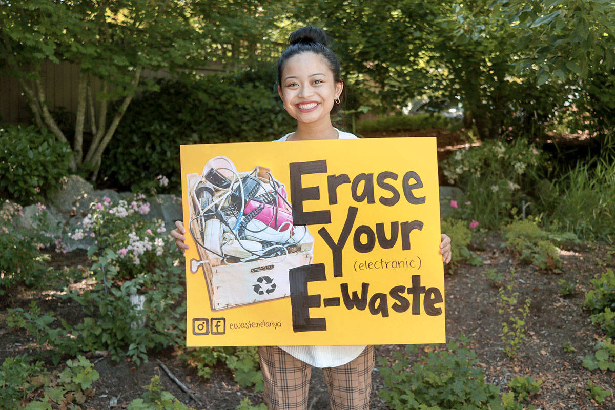 Walnut Grove resident Netanya Castillo is a student at Kwantlen Polytechnic University. She is hosting an electronic recycling drive until July 30, 2021 in an effort to win a $10,000 scholarship from the Electronic Recycling Association. (Special to Langley Advance Times)