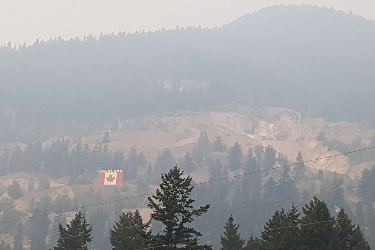 The community of Falkland is located between Kamloops and Vernon, two cities among 10 from B.C.'s Southern Interior region that have the 10 worst air quality indexes in Canada thanks to wildfire smoke. (Brenda Giesbrecht photo)