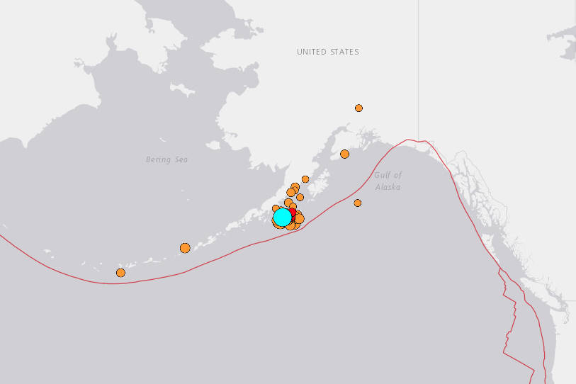 A series of earthquakes struck off the Alaska coast starting late July 28 and continued into July 29. (United States Geological Survey map)