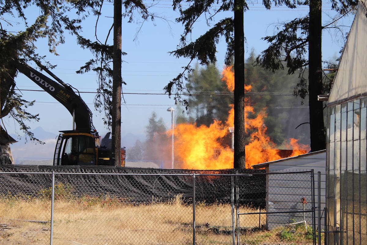 Fire erupts at a construction site on 32 Avenue near 192 Street Thursday (July 29) morning. Initial indications are that work crews struck a gas main. (Shane MacKichan photo)