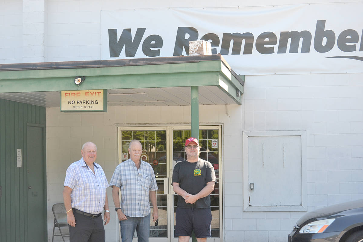 Wayne Mortimore (left) and Doug Tanner (centre) are leading the charge save the Aldergrove legion by renting out the hall. (Ryan Uytdewilligen/Aldergrove Star)