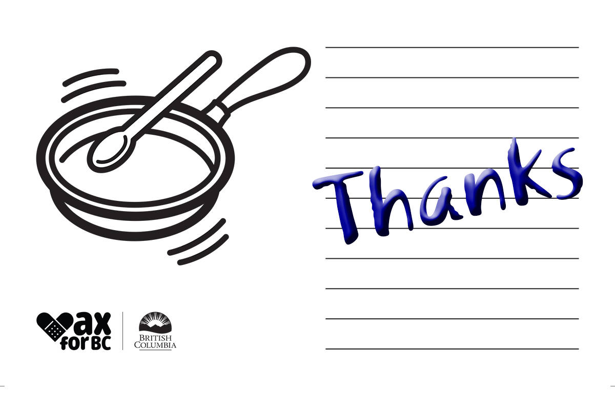 The provincial government has a downloadable PDF online where people can write thank you notes to frontline workers. (B.C. Government)