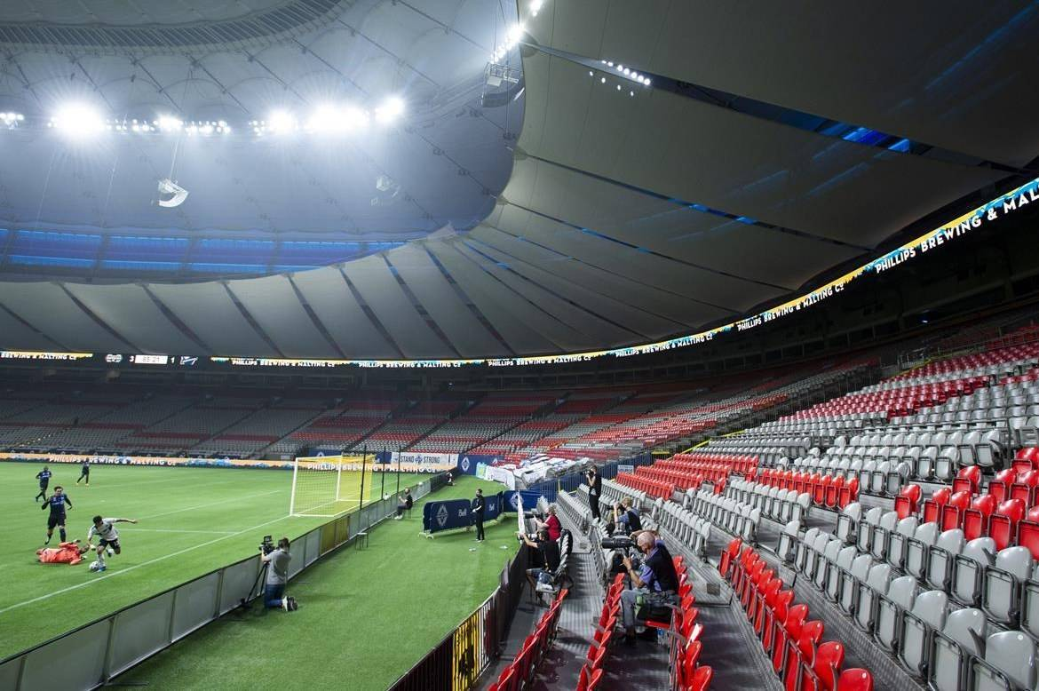 Vancouver Whitecaps FC play the Montreal Impact in an empty B.C. Place due to COVID-19 protocols during the second half of MLS soccer action in Vancouver, B.C. Wednesday, September, 16, 2020. THE CANADIAN PRESS/Jonathan Hayward