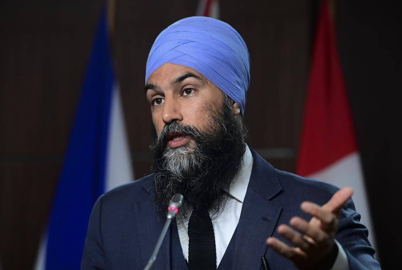 NDP Leader Jagmeet Singh holds a press conference on Parliament Hill in Ottawa on Wednesday, June 23, 2021. THE CANADIAN PRESS/Sean Kilpatrick