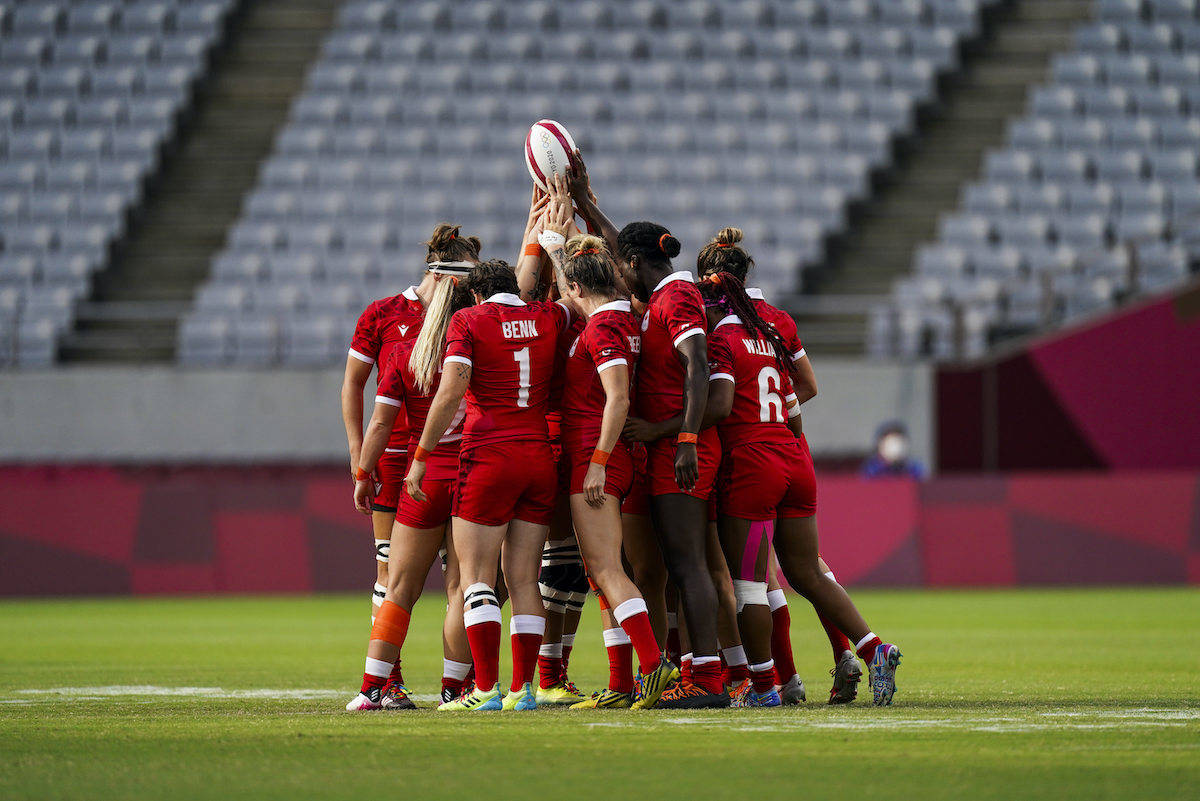 Canada's Women's rugby team prepares to face Brazil during the Tokyo Summer Olympic Games, in Japan on Friday, July 30, 2021. THE CANADIAN PRESS/HO, COC, Darren Calabrese