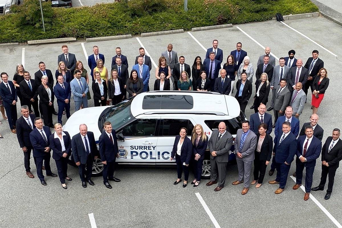 Some of the 46 officers – excluding those who have or will do covert police work – were sworn-in to the Surrey Police Service on July 16. (SPS photo)