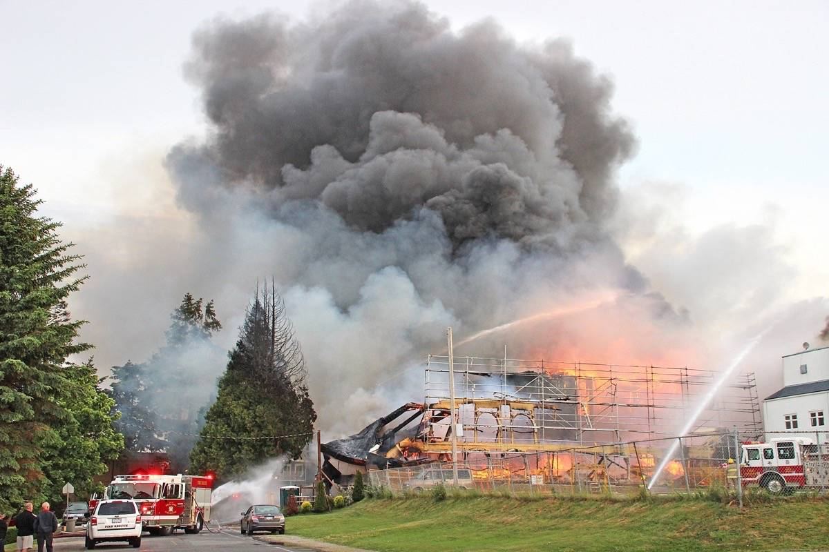 A massive fire swept through White Rock's Five Corners district on May 15, 2016. (File photo)