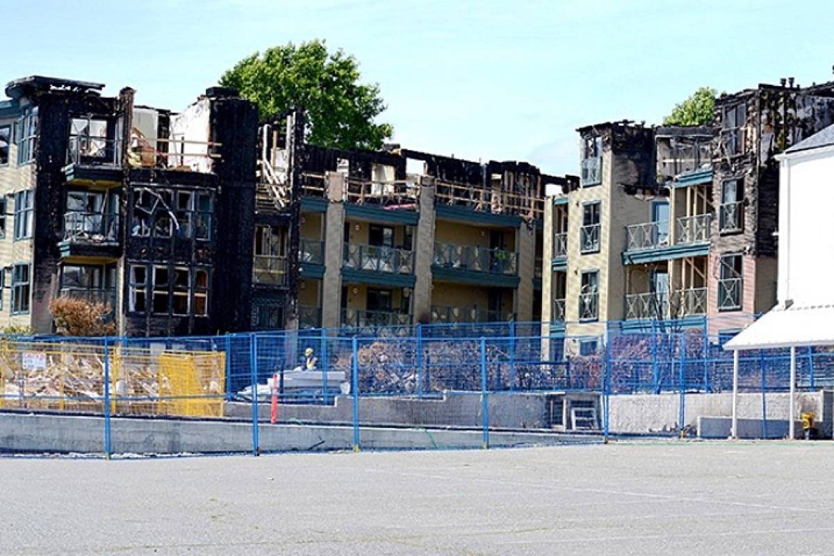 The aftermath of the May 2016 fire that rendered the Ocean Ridge condominium building in White Rock's Five Corners district uninhabitable. (File photo)