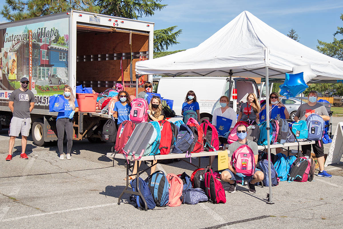 The Salvation Army Gateway of Hope partners with various churches and others during the annual school supply drive. In 2020, they delivered the school supplies to families for safety reasons and will do so again in 2021. (Gateway/Special to the Langley Advance)