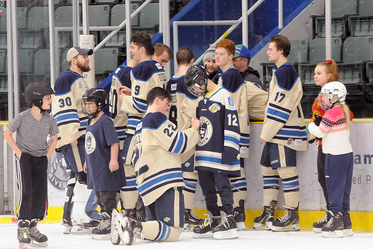 Dozens of fans took to the ice at George Preston arena in 2019 for the traditional post-game skate with the Langley Rivermen (Dan Ferguson/Langley Advance Times)