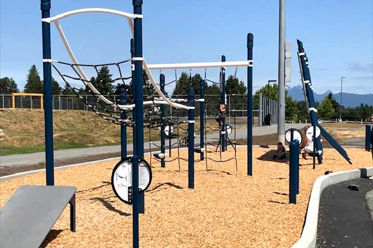 A new playground, athletic equipment, and outdoor classroom are being constructed at Betty Gilbert in Aldergrove this summer. (Charlie Fox/Special to The Star)