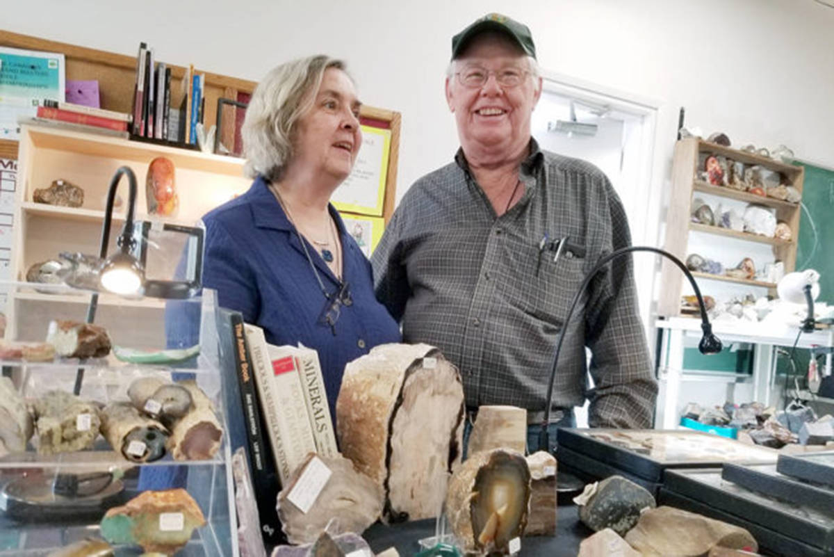 Sue and Ron Vauthrin, self-described 'rock hounds' from Aldergrove, were among the vendors at the Fraser Valley Rock and Gem Club 60th annual show in 2019. (Aldergrove Star files)