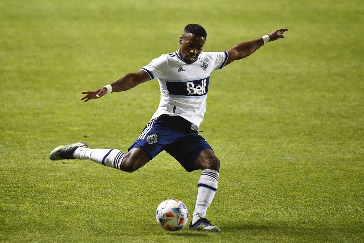 Vancouver Whitecaps forward Cristian Dajome passes the ball during the second half of the team's MLS soccer match against Minnesota United, Saturday, July 31, 2021, in Sandy, Utah. (AP Photo/Alex Goodlett)