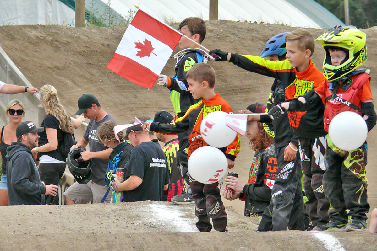 Riders lined the Langley BMX track to welcome back Drew Mechielsen from the Olympics on Sunday. (Dan Ferguson/Langley Advance Times)