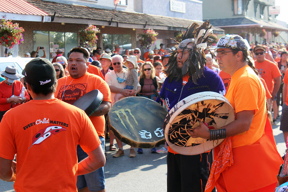Drum circle at the start of Penelakut Tribe's Walk for the Children. (Photo by Don Bodger)