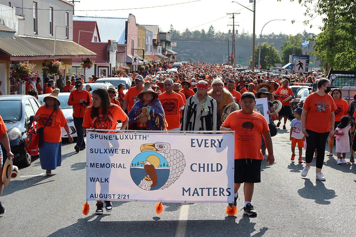 Children from Penelakut led the march up Oak Street toward Waterwheel Park. (Cole Schisler photo)