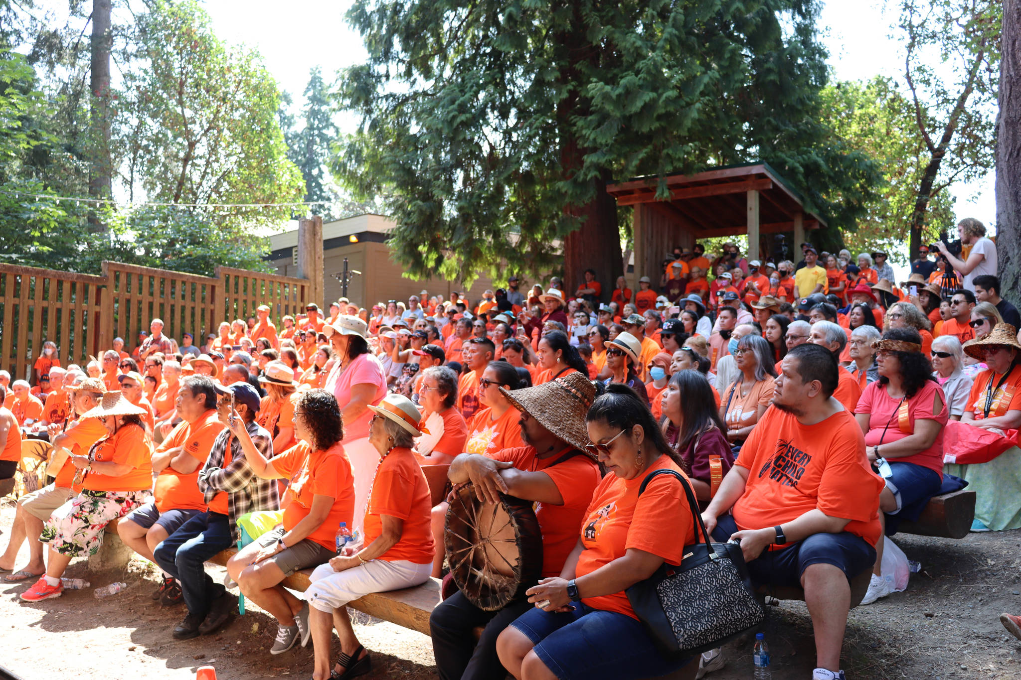 There was standing room only at Waterwheel Park as speakers shared their words with the crowd. (Cole Schisler photo)