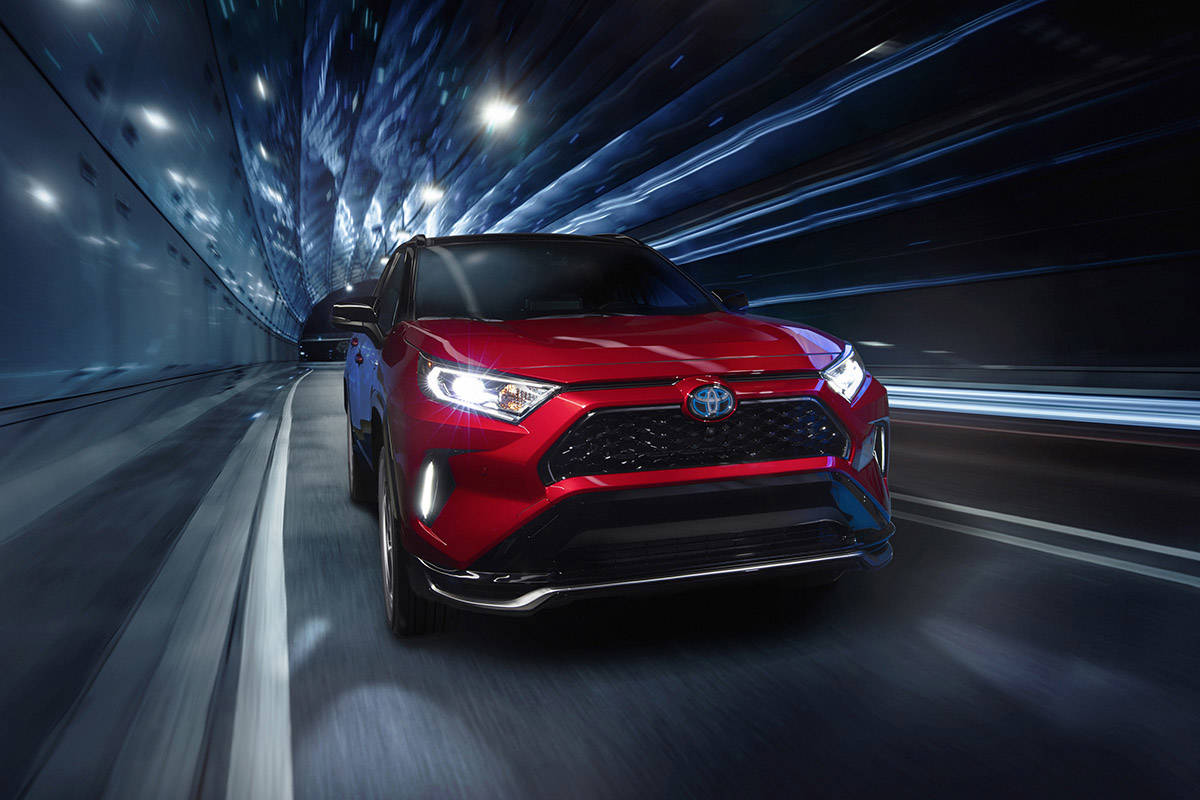 With 302 horsepower, the RAV4 Prime is a sporty machine that can zip to 60 mph (96 km/h) from rest in less than six seconds, so it's important for the interior to look the part. PHOTO: TOYOTA