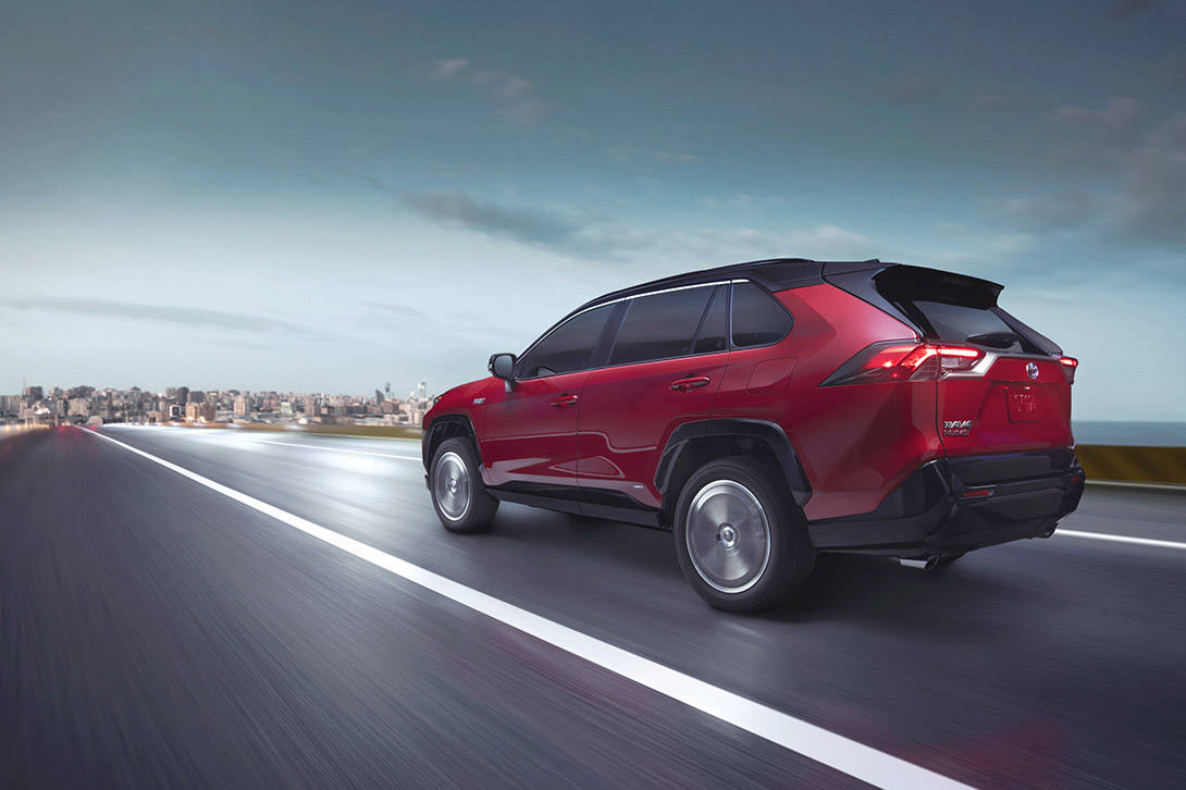 In EV mode, the RAV4 Prime is rated at 2.5 l/100 km equivalency. As a regular hybrid that has two electric motors and a 2.5-litre four-cylinder engine, it's rated at 6.4 on the highway and 5.7 in the city. PHOTO: TOYOTA