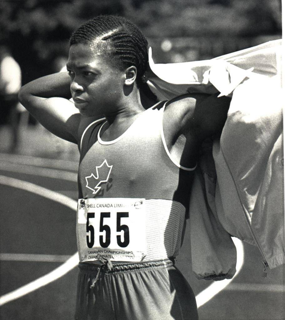 Angela Bailey is shown in this August 2, 1985 photo competing at the National Track and Field Championships in Ottawa. THE CANADIAN PRESS/Peter Jones
