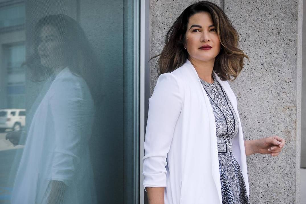 Dr. Alina Turner, president and co-founder of HelpSeeker Technologies, who is taking part in a federally funded project designed to predict what will happen to homelessness, suicide and domestic violence rates, is pictured at the company's office in Calgary, Alta., Friday, July 23, 2021.THE CANADIAN PRESS/Jeff McIntosh