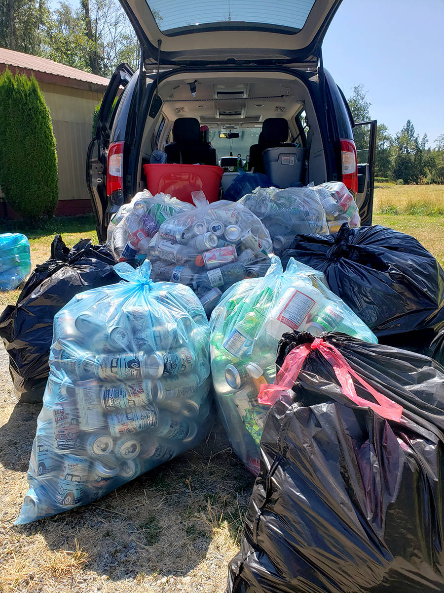 Jocelyn Titus, founder of Aldergrove's Earth Ninjas, received over $600 worth of bottles in donations. (Shailee Shah/Special to The Star)